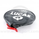 Black Lucas lamp cover with white print