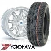 "5"" x 10"" silver original Minilite Mini alloy wheel and Yokohama A008 tyre package"