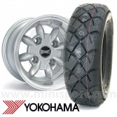 "6"" x 10"" silver Ultralite alloy wheel and Yokohama A032 tyre package"