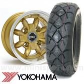 "6"" x 10"" gold Ultralite alloy wheel and Yokohama A032 tyre package"