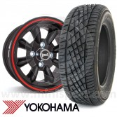 "7"" x 13"" black/red pinstripe Ultralite alloy wheel and Yokohama A539 tyre package"