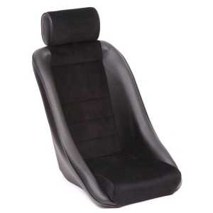 Mini Classic GT & Headrest - Black Soft Grain Vinyl outers/Black Corduroy centres/Black Piping