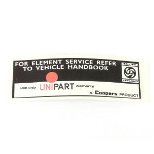 Unipart Air Filter Sticker