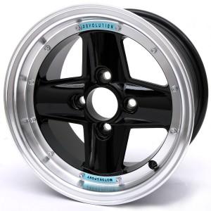 Revolution Black 7'' x 13'' 4 Spoke Deep Dish Split Style Alloy Wheel