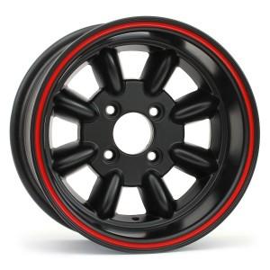 7 x 13 Superlight Wheel - Black/Red Rim