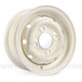 "Cooper S Steel Wheel in Old English White - 4.5"" x 10"""