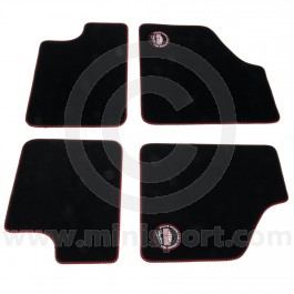 Paddy Hopkirk Mini Floor Mat Set in Black with Black & Red Binding