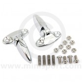 8B12601 A pair of good quality chrome plated Mini boot lid hinges.