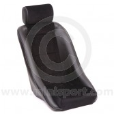 Mini Classic GT & Headrest - Black Soft Grain Vinyl outers/Black Corduroy centres/Black Piping