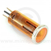 Warning Lights - 12mm push fitting with chrome ring Amber