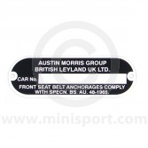 Austin Morris Chassis/Engine Plate