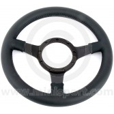 "12"" Dished Black Leather Steering Wheel with Black Spokes"