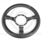 "12"" Dished Black Leather Steering Wheel with Polished Spokes"