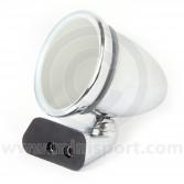Adjustable Chrome Bullet Mirror - Flat Lens - Rover Door Mount Fitting - RH