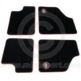 Paddy Hopkirk Mini Floor Mat Set in Black with Black & Red Binding