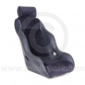 Mini Classic RSR & Headrest - Black Soft Grain Vinyl all over/Black Soft Grain Vinyl Piping