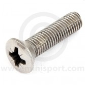 "SG604051 Countersunk screw - 1/4"" UNF x 1"" long, for mounting door check strap on Mini Mk1, Mk2, Van, Pick-up and Estate models"