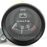SMIBV2220-00B Smiths Classic voltmeter, 52mm gauge with black face and black bezel.