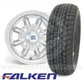 "4.5"" x 10"" silver original Minilite Mini alloy wheel and Falken FK07E tyre package"