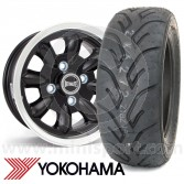 "5.5"" x 12"" black/polished rim Ultralite alloy wheel and Yokohama A048 tyre package"