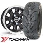 "5.5"" x 12"" black/polished rim Ultralite alloy wheel and Yokohama A048 tyre package"