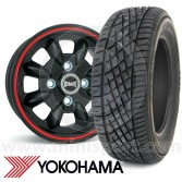 "5.5"" x 12"" black/red pinstripe Ultralite alloy wheel and Yokohama A539 tyre package"