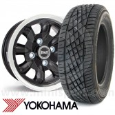 "5.5"" x 12"" black/polished rim Ultralite alloy wheel and Yokohama A539 tyre package"