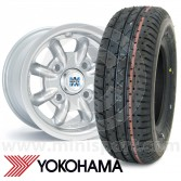"6"" x 10"" silver original Minilite alloy wheel and Yokohama A008 tyre package"