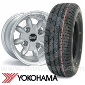 "6"" x 10"" silver Ultralite alloy wheel and Yokohama A008 tyre package"