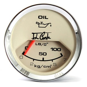 John Cooper Oil Pressure Gauge - Magnolia Face and Chrome Ring