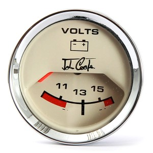 John Cooper Voltmeter - Magnolia Face and Chrome Ring