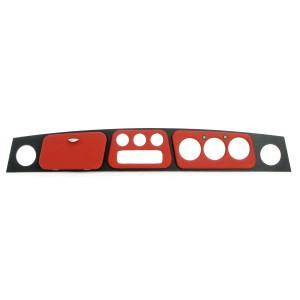 RHD Cooper Red Vinyl Dashboard - 3 Clock + 3 Clock Holes