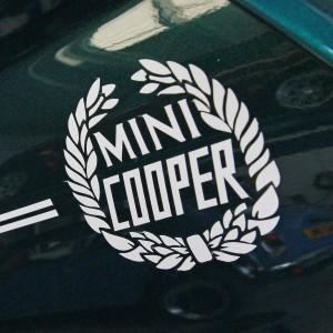 Mini Cooper Wreath Laurel Decal - Diamond White