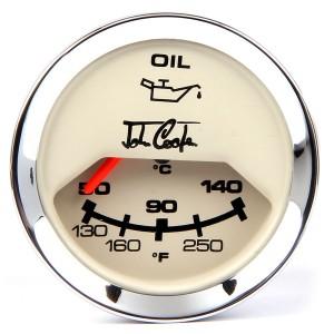 John Cooper Oil Temperature Gauge - Magnolia Face and Chrome Ring