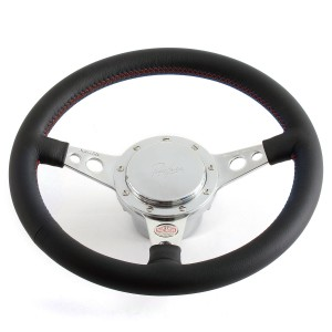 Paddy Hopkirk Mini Leather Steering Wheel by Moto-Lita - Black with Red Stitching