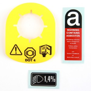 Mini Brake Reservoir Tag - Asbestos Warning Label - Headlight Aim Label - set of 3