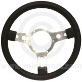 "Sport Steering Wheel - 14"" - Black Vinyl with Red Stitching"