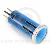 Warning Lights - 12mm push fitting with chrome ring Blue
