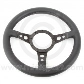 "13"" Dished Black Leather Steering Wheel with Black Spokes"