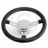 Paddy Hopkirk Classic Mini Black Steering Wheel - No Horn - Green Stitching