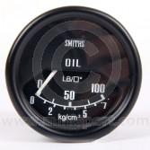 SMIPL2310-00B Mini Smiths Oil Pressure Gauge - Mechanical - Black with Black ring