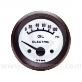 TIM Oil Pressure Gauge - Electric - White Face