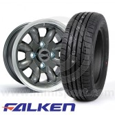"""5.5"""" x 12"""" anthracite/polished rim Ultralite alloy wheel and Falken ZE912 tyre package"""