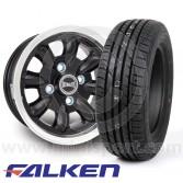 "5.5"" x 12"" black/polished rim Ultralite alloy wheel and Falken ZE912 tyre package"