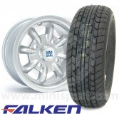 "5"" x 10"" silver original Minilite Mini alloy wheel and Falken FK07E tyre package"