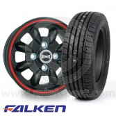 """5"""" x 12"""" black/red pinstripe Ultralite alloy wheel and Falken ZE912 tyre package"""