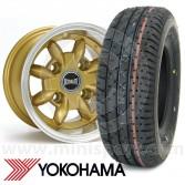 "6"" x 10"" gold Ultralite alloy wheel and Yokohama A008 tyre package"