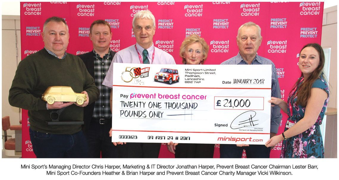 Mini Sport chosen charity Prevent Breast Cancer recieve £21000
